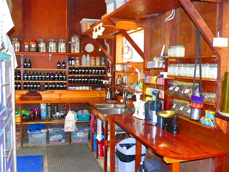 The herbal pharmacy area of the workshop